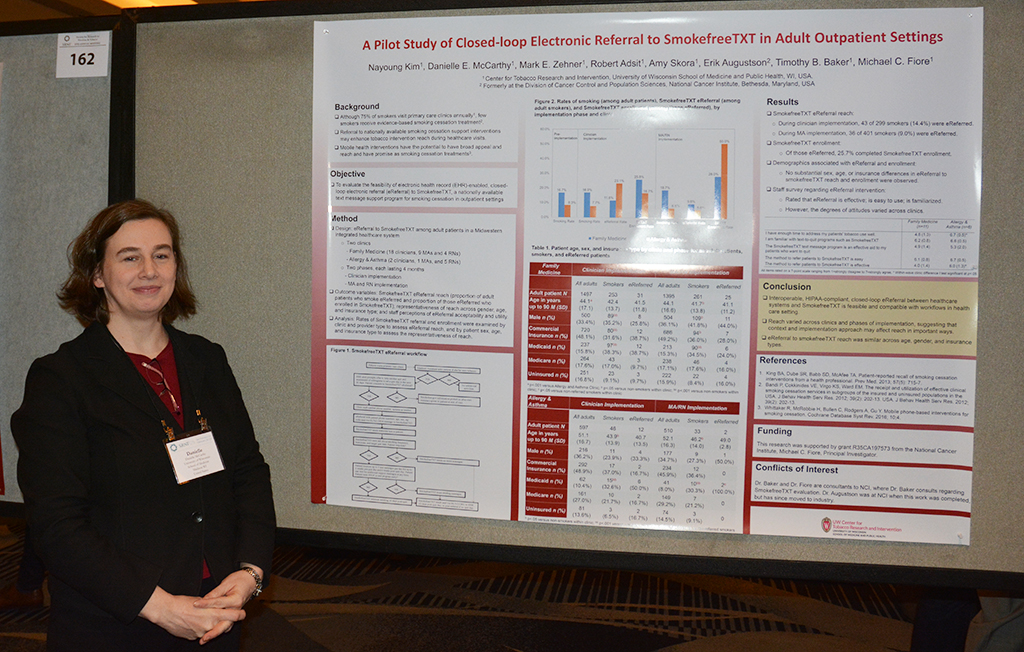 UW-CTRI Associate Director of Research Dr. Danielle McCarthy presents her research findings at SRNT in San Francisco.